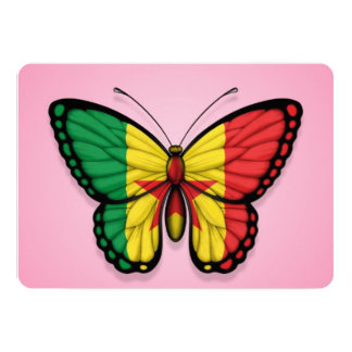 """Senegal Butterfly Flag on Pink 5"""" X 7"""" Invitation Card"""