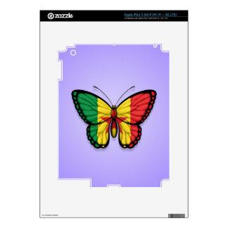 Senegal Butterfly Flag on Purple Skin For iPad 3