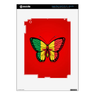 Senegal Butterfly Flag on Red iPad 3 Decal