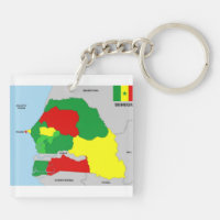 senegal country map flag keychain
