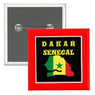 SENEGAL (DAKAR)  MAP T-SHIRT AND ETC 2 INCH SQUARE BUTTON
