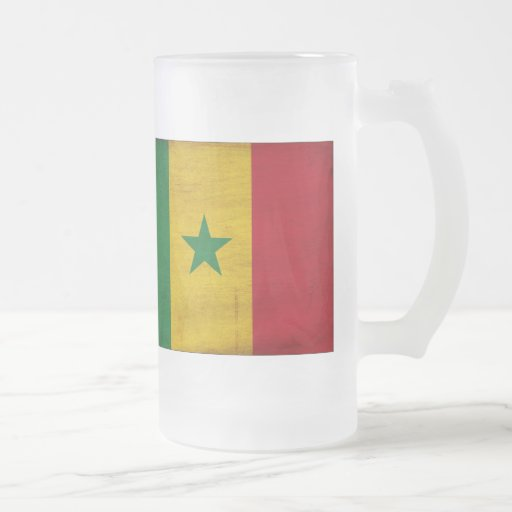 Senegal Flag 16 Oz Frosted Glass Beer Mug