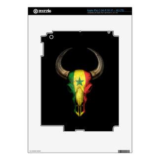 Senegal Flag Bull Skull on Black iPad 3 Skins