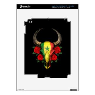 Senegal Flag Bull Skull with Red Roses iPad 3 Decal