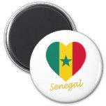 Senegal Flag Heart Fridge Magnet