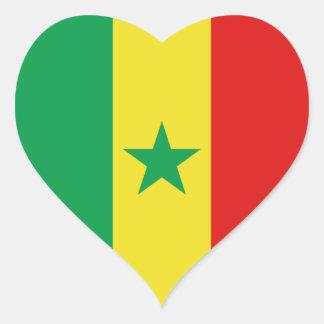 Senegal Flag Heart Sticker
