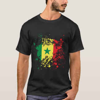 Senegal Flag Ink Splatter T-Shirt