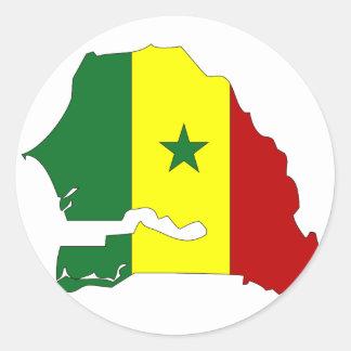 Senegal flag map classic round sticker