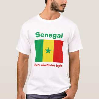 Senegal Flag + Map + Text T-Shirt