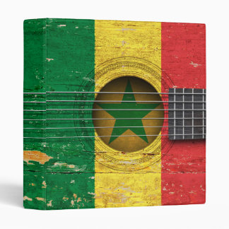 Senegal Flag on Old Acoustic Guitar 3 Ring Binders