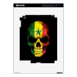 Senegal Flag Skull on Black iPad 3 Decals