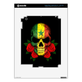 Senegal Flag Skull with Red Roses iPad 3 Decal