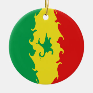 Senegal Gnarly Flag Double-Sided Ceramic Round Christmas Ornament