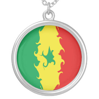 Senegal Gnarly Flag Silver Plated Necklace