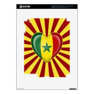 Senegal Heart Flag with Sun Rays Decal For iPad 3