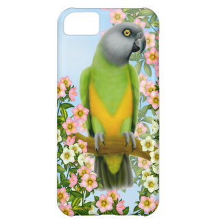 Senegal Parrot in Garden Flowers iPhone Case