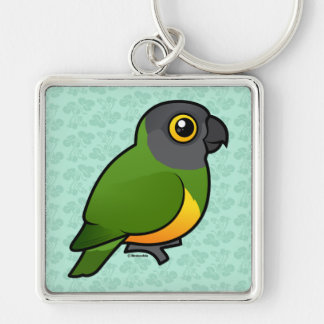Senegal Parrot Silver-Colored Square Keychain