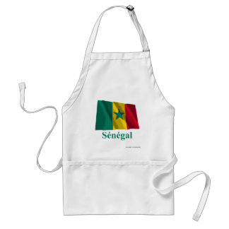 Senegal Waving Flag with Name in French Adult Apron