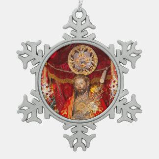 """""""Senhor Santo Cristo dos Milagres"""" Snowflake Pewter Christmas Ornament"""