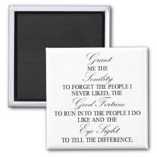Senility prayer square magnet