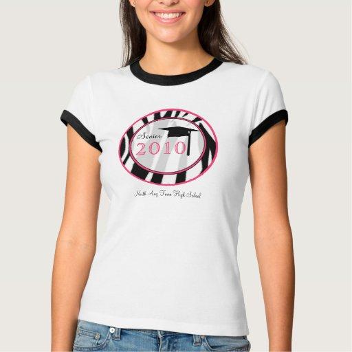 Senior 2010 Zebra Print Graduation T Shirt