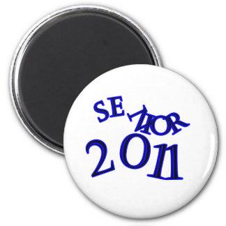 Senior 2011 Blue 2 Inch Round Magnet