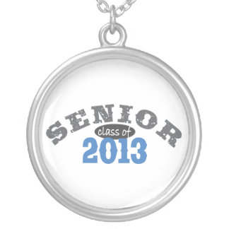 Senior 2013 Blue Silver Plated Necklace