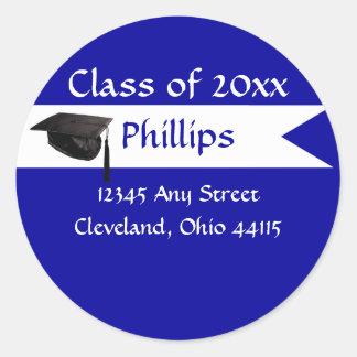 Senior Blue Envelope Seal Round Stickers