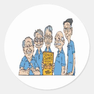 Senior Bowling Champs Classic Round Sticker