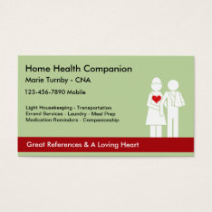 Senior Caregiver Business Cards at Zazzle