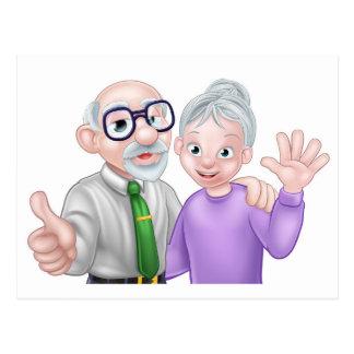 Senior Cartoon Couple Postcard