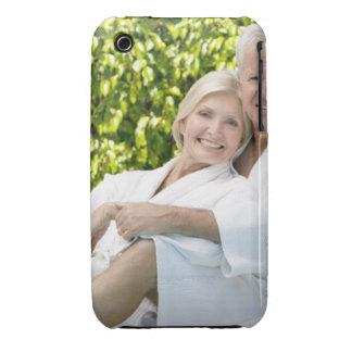 Senior Caucasian couple in robes in spa. iPhone 3 Case