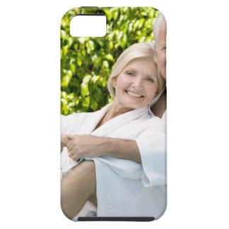 Senior Caucasian couple in robes in spa. iPhone SE/5/5s Case