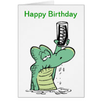 Senior Citizen Crocodile Birthday Cartoon Card