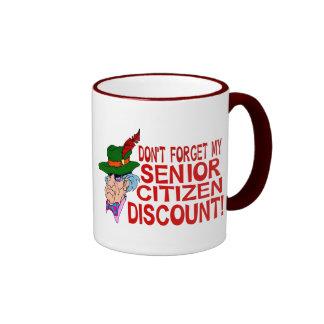 Senior Citizen Discount Ringer Coffee Mug