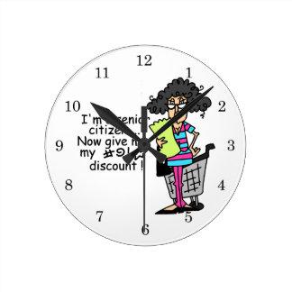 Senior Citizen Discount Round Clock