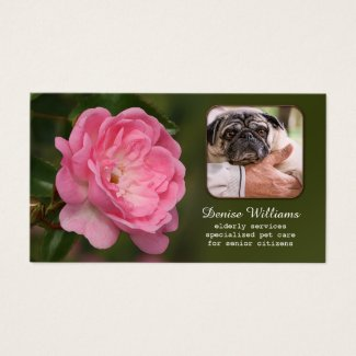 Senior Citizen Services and Pet Care Business Card