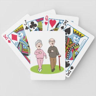 Senior Citizens Walking Cartoon Bicycle Playing Cards