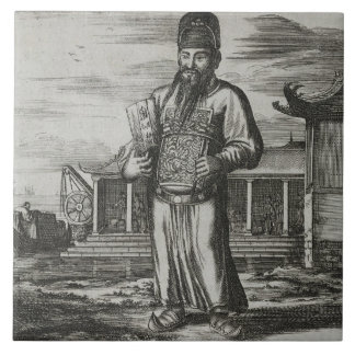 Senior Civil Servant Collecting Taxes, illustratio Large Square Tile