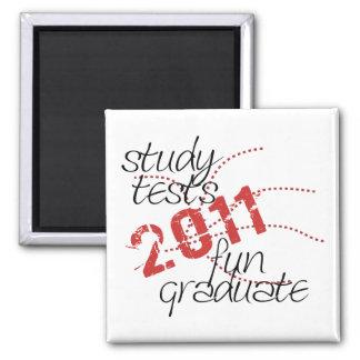 Senior Class 2011 - study, tests, fun, graduate! 2 Inch Square Magnet