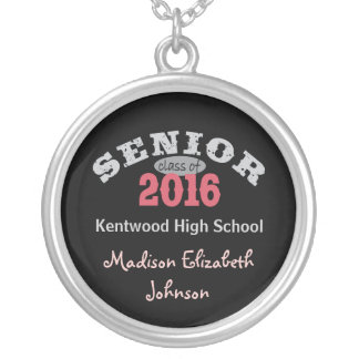 Senior Class of 2016 Red Silver Plated Necklace