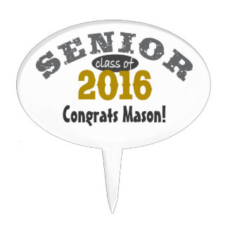 Senior Class of 2016 Yellow Gold Cake Toppers