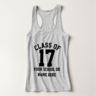 Senior Class of 2017 Personalized School Name Grad Jersey Racerback Tank Top