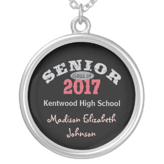 Senior Class of 2017 Red Round Pendant Necklace