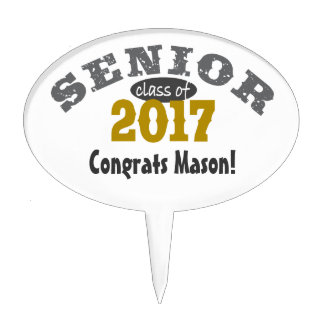 Senior Class of 2017 Yellow Gold Cake Pick