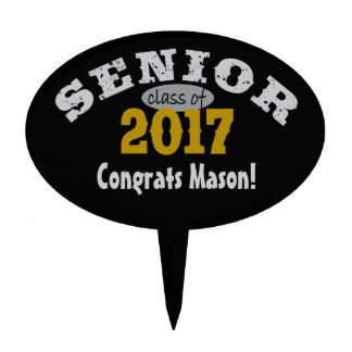 Senior Class of 2017 Yellow Gold Oval Cake Topper