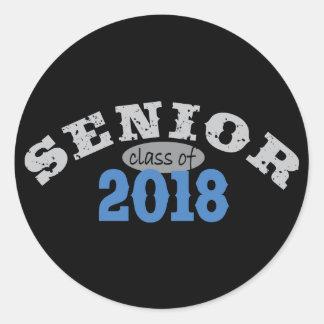 Senior Class of 2018 Blue Classic Round Sticker