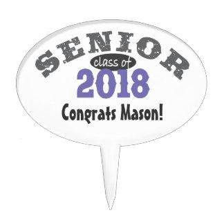 Senior Class of 2018 Purple Oval Cake Picks