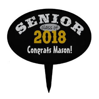 Senior Class of 2018 Yellow Gold Oval Cake Picks