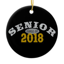 Senior Class of 2018 Yellow Gold Ceramic Ornament
